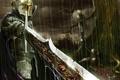 Картинка дождь, дерево, кровь, меч, воин, трупы
