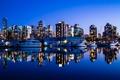Картинка Vancouver, небоскребы, пристань, город, яхты, Canada, вечер, ночь, Ванкувер, океан, здания, Канада