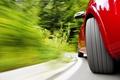 Картинка макро, красная, скорость, поворот, машина