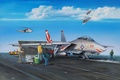 Картинка jet, Grumman F-14 Tomcat, aviation, painting, airplane, war, art
