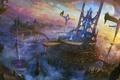 Картинка летающий, корабль, мосты, лучи, арт, divinity, город, облака, скалы, SHUXING LI