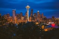 Картинка lights, USA, United States, Washington, dusk, buildings, downtown, skyscrapers, building, Seattle, America, United States of ...