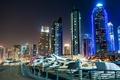Картинка ночь, город, фото, Небоскребы, Dubai, Объединённые Арабские Эмираты