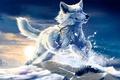 Картинка снег, белый, прыжок, art, be free, wolfroad, клык, солнце, закат, Волк