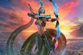 Картинка существо, лук, закат, море, Naga Kertana, Juggernaut Wars, игра, лучница