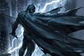 Картинка молния, Batman, арт, крыша, город, ночь, The Dark Knight Returns, маска, костюм