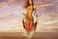 Картинка рыжая, арт, улыбка, лицо, волосы, море, вода, девушка, облака, небо, ноги, платье
