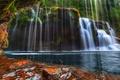 Картинка вода, камни, водопад, мох, поток