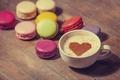 Картинка любовь, сердце, кофе, молоко, печенье, чашка, сладости, love, десерт, heart, food, какао, coffee, cream, dessert, ...