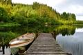 Картинка озеро, лодка, небо, мостик, деревья, лес