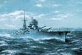 Картинка корабль, легкий крейсер «Керчь», арт, ВМФ СССР, берег, море, волны, рисунок, небо, чайки