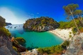 Картинка Испания, пляж, бухта, море, яхты, лодки, скалы, Менорка, Macarelleta