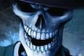 Картинка Череп, шляпа, синий, зубы