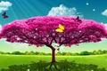 Картинка дерево, баборчка, рендеринг, лето, арт
