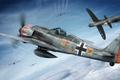 Картинка ww2, painting, fighter, Focke Wulf Fw-190A-5/A-6, war, art