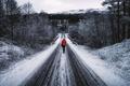 Картинка girl, snow, road, winter, back