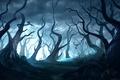 Картинка Лес, свет, Dead Forest, арт, bmd247, птица, деревья