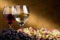 Картинка Вино, виноград, бокалы