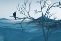 Картинка дерево, птицы, ворон, горы, туман, ветки, вершина