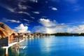 Картинка лагуна, polynesia, океан, water villas, bora-bora, отель