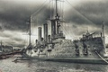 Картинка Аврора, Река, Рисунок, Военный, Бронепалубный крейсер, Причал, Корабль, Крейсер