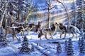 Картинка ёлки, животные, ель, природа, зима, живопись, солнечные лучи, волки, Ronnie Hedge, Kindred Spirits, стая, лес