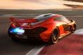 Картинка Concept, оранжевый, McLaren, концепт, суперкар, вид сзади, МакЛарен, пламя.гоночный трек
