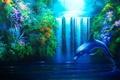 Картинка Водопад, растения, дельфин