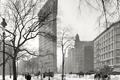 Картинка зима, снег, дом, ретро, Нью-Йорк, США, УТЮГ, 1921 год