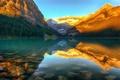 Картинка лес, закат, горы, природа, озеро, Канада