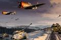 Картинка арт, шерман, P38, рисунок, битва за арденны, Lightning, P47, Thunderbolt, World War II