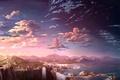 Картинка горы, арт, водопады, вид, пейзаж, скалы, закат, облака, реки