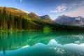 Картинка отражение, горы, природа, озеро, вода, красиво, небо, лес