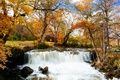 Картинка United States, river, bridge, autumn, leaves, waterfall, autumn colors, Minnesota, fall, foliage, benches, fall colors, ...