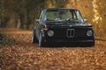 Картинка осень, листва, BMW, black, oldschool