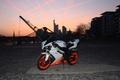 Картинка ямаха, bike, мотоцикл, город, white, supersport, сумерки, yzf-r1, белая, yamaha