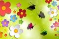 Картинка цветы, объем, свет, аппликация, бабочка, блик, блеск