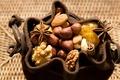Картинка макро, еда, орехи, орешки, миндаль, мешочек