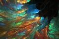 Картинка ветви, чёрточки, фракталы, разноцветье, сполохи