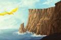 Картинка море, скалы, дракон, рисунок, фэнтези, арт