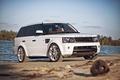 Картинка рендж ровер, Land Rover, Range Rover, белый, спорт, блик, древья, Sport, white, речка, причал, солнце, ...