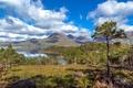 Картинка горы, Upper Loch Torridon, деревья, берег, залив, бухта, Шотландия, облака