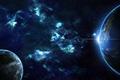 Картинка восход, планеты, галактики, планета Земля, звёзды