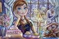 Картинка торт, disney, снег, окно, зима, olaf, anna, frozen, ночь, свеча, Холодное сердце