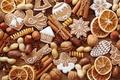 Картинка анис, сладости, Новый Год, выпечка, печенье, New Year, Christmas, пряности, корица, праздники, цитрусы, орехи, бадьян, ...
