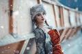 Картинка шапка, косы, Cold Moscow, Alessandro Di Cicco, снег, макияж