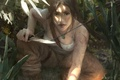 Картинка оружие, взгляд, арт, охотница, лицо, lara croft, майка, волосы, нож, лара крофт, tomb raider