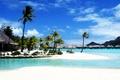 Картинка море, пальмы, бора бора, курорт, пляж