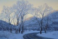 Картинка Лушпин, snow, горы, зима, дорога, art, вечер, trees, car, машина, evening, Евгений Лушпин, Lushpin, снег, ...