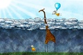 Картинка облака, дети, жираф